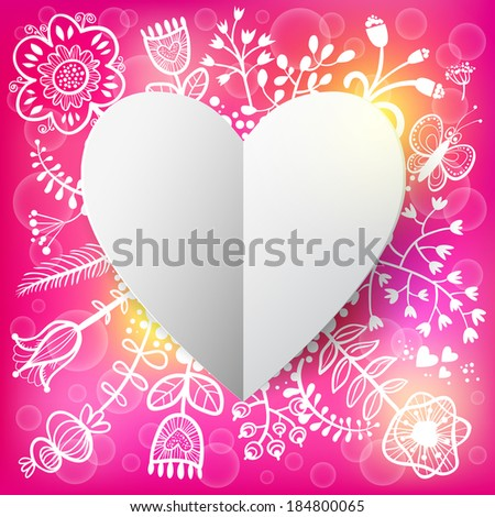 Floral and Paper Heart background. Raster version. illustration, can be used as creating card, wedding invitation, birthday, valentine's day and other holiday and summer or spring background. - stock photo