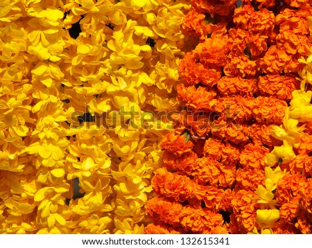 floral arrangement for holy festival and religious offerings in india. - stock photo