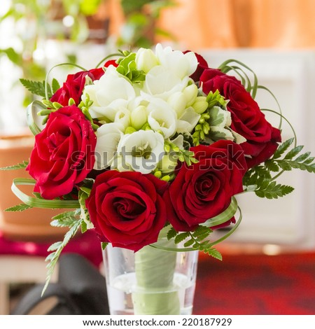 Floral arrangement in a wedding bouquet - stock photo