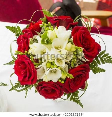 Floral arrangement in a wedding bouquet - stock photo