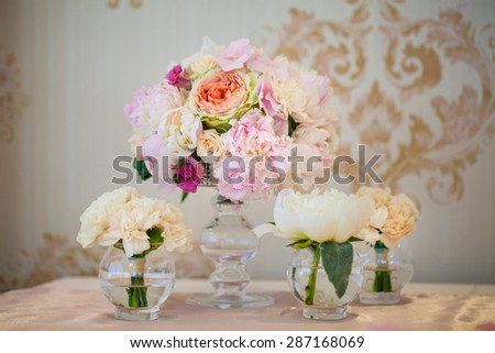 floral arrangement on the table - stock photo