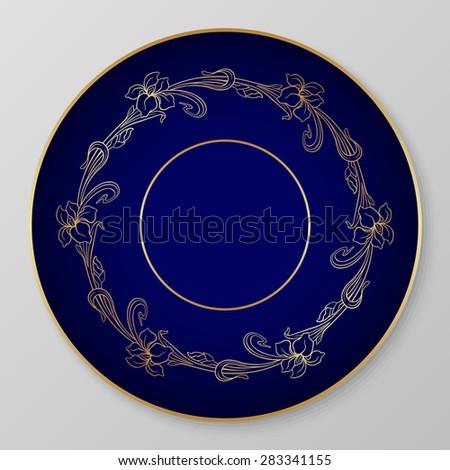 Floral art nouveau iris ornament for decorative plate. Raster version. - stock photo