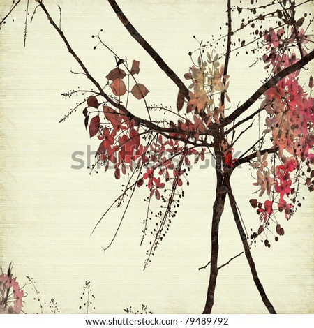 Floral Art on Ribbed Paper Textured Background - stock photo