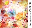 Floral autumn design, watercolor painting - stock photo