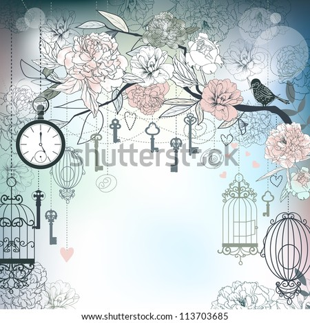 Floral background. Birds, cages, clock, keys, peonies. - stock photo