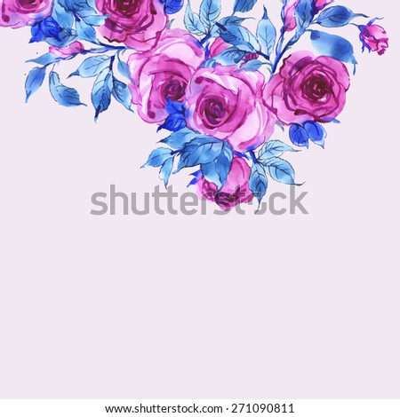 Floral background delicate pink roses-1 - stock photo