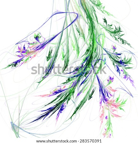 Floral background, digital image with pattern resembling tree branch and flowers, beautiful fractal texture for use as a design element - stock photo