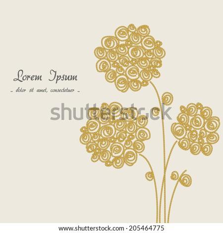 floral background, golden flower - stock photo
