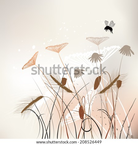 Floral background, meadow in summer time. Illustration - stock photo