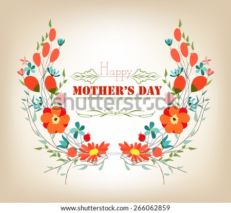 Floral background mothers day greeting card with decorative flowers - stock photo