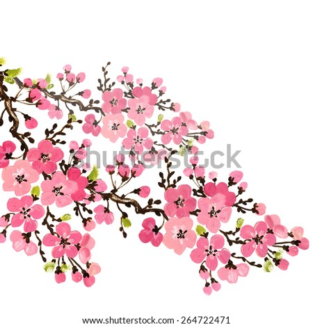 floral background of wonderful flowering branches - stock photo