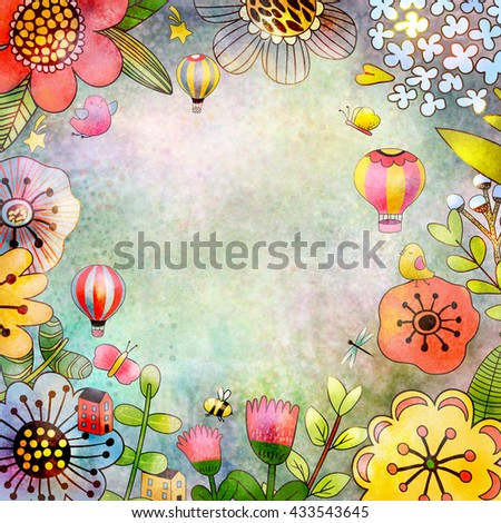 Floral background. Raster illustration. Card or poster template. Clipping path included. Fast isolation. Hi-res file. Hand painted.