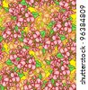 Floral background, seamless pattern, blooming tree, hand drawn - stock photo