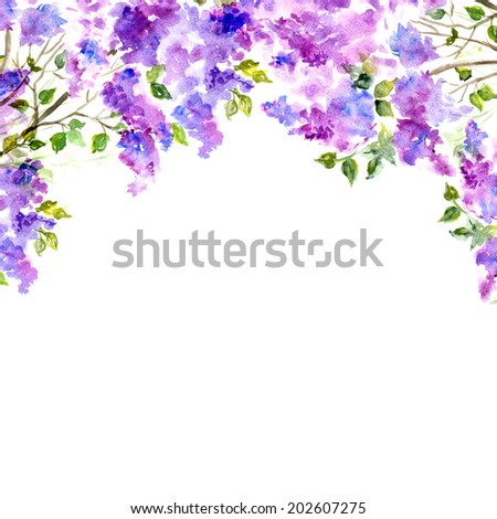 Floral background. Watercolor floral bouquet. Invitation. - stock photo