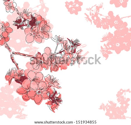 Floral background with a flower sakura. Raster version of vector illustration  - stock photo
