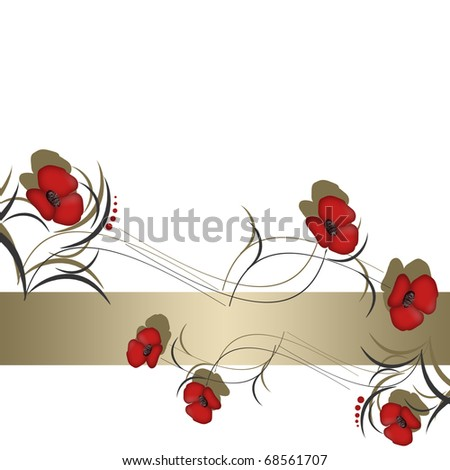 Floral background with abstract red flowers and empty space for text