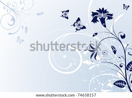 Floral Background with butterfly, element for design,  illustration - stock photo
