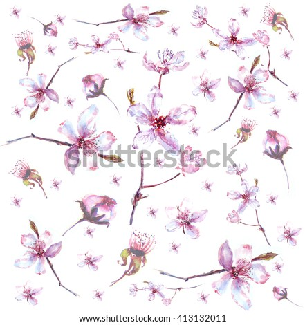 floral background with flowers. Hand painted watercolor painting. - stock photo