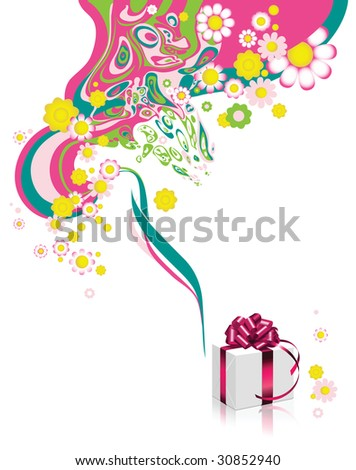 Floral background with gift box. Raster version of vector illustration.