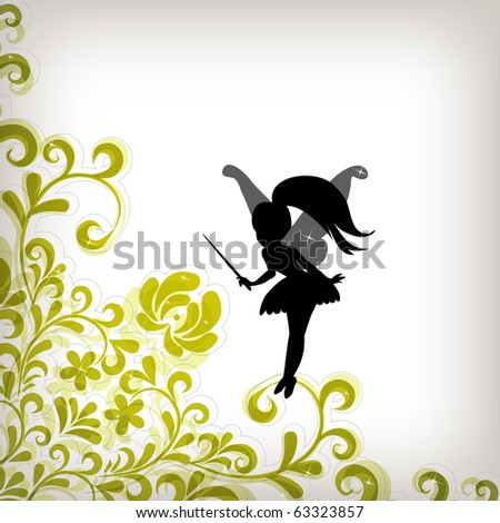 Floral background with little fairy