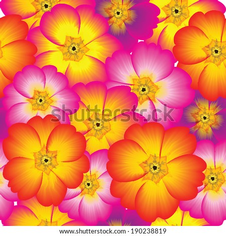 Floral background with multicolored flowers. Abstract seamless. Raster version. - stock photo