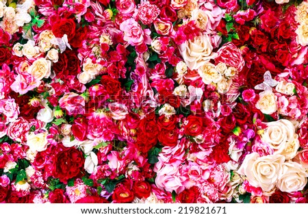 Floral background with red and white roses  - stock photo