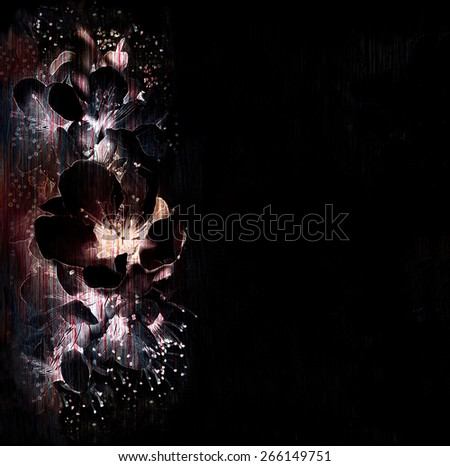 Floral background with stylized flaring  spring flowers in black,white, violet colors  - stock photo