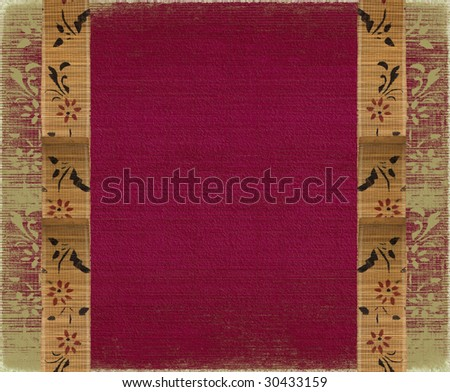 floral bamboo banner frame on red background - stock photo