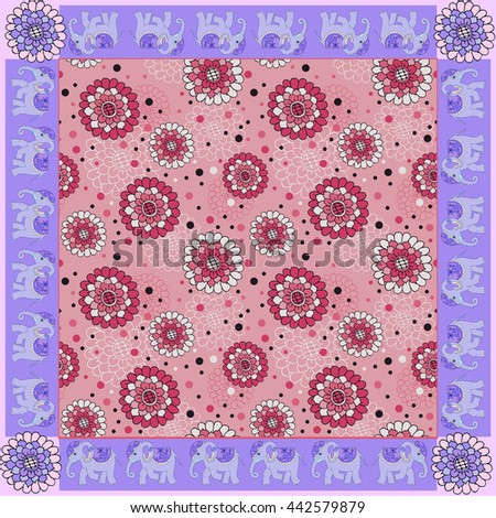 Floral bandana print with ornamental border. Silk neck scarf with beautiful flowers and elephants. Summer kerchief square pattern design style for print on fabric. - stock photo
