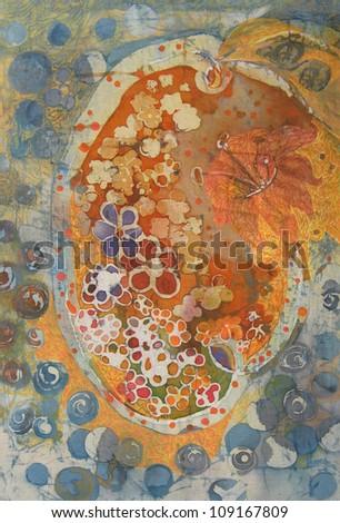 floral batik fabric painting - stock photo