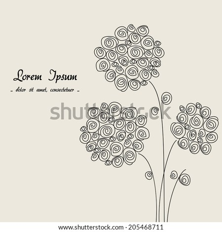 floral beige background, hand-drawing flower