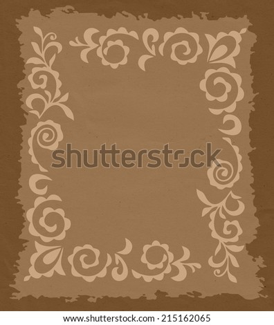 floral blank paper with burned edges - stock photo