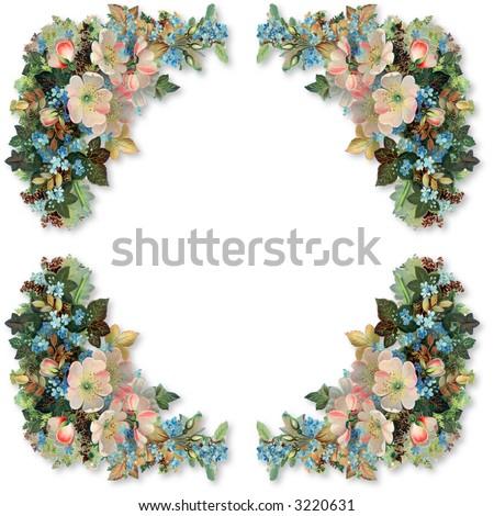 Floral border and frame - patterned after an 1895 vintage illustration - stock photo