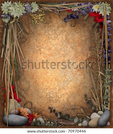 Floral Border Background - stock photo