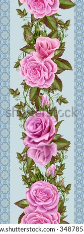 floral border, pattern, seamless,pink roses, green leaves, ornament - stock photo