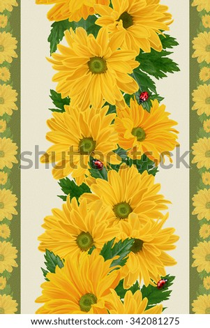 floral border vertical, pattern, seamless, yellow chrysanthemum flowers, ladybugs - stock photo
