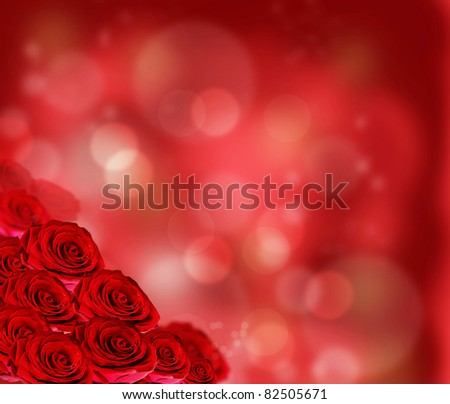 Floral border with red roses - stock photo