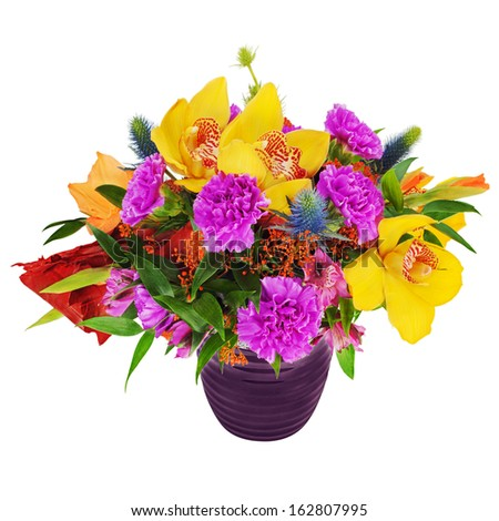Floral bouquet of orchids, gladiolus flowers and carnations arrangement centerpiece in glass vase isolated on white background. - stock photo