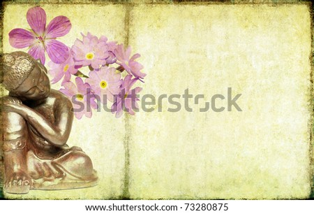 floral buddha background - stock photo