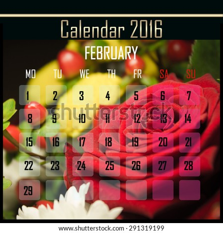 Floral 2016 calendar design for february month - stock photo