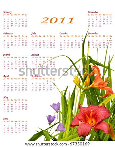 Floral 2011 calendar with beautiful red and orange lilies in the corner, simple and elegant.