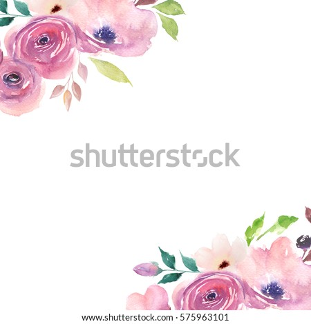 Floral Card Watercolor Template Wedding Invitations Stock