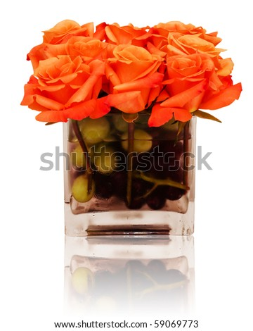 Floral centerpiece with reflection - stock photo