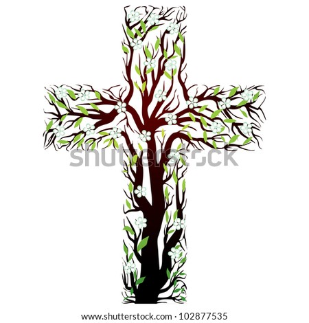 floral christian cross, tree shape  on a white background - stock photo