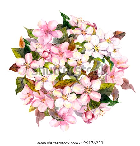 Floral circle with pink flowers (apple, cherry, sakura blossom). Watercolor - stock photo