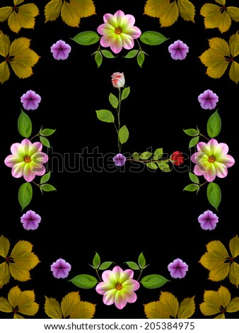 floral clock on black background - stock photo