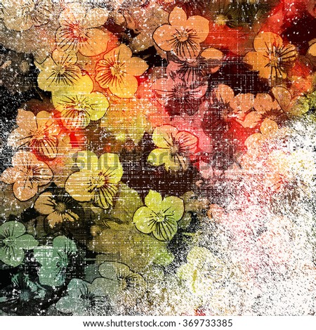 Floral colorful background with small flowers on grunge striped and stained backdrop