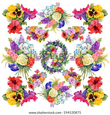 Floral colorful flowers pattern on white background - stock photo