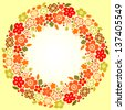 Floral colorful wreath red orange and green on yellow background for a card. Raster version, editable vector file also available at my port. - stock photo