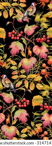 Floral composition of autumn branches with berries , leaves and birds. Seamless background pattern. Version 3 - stock photo